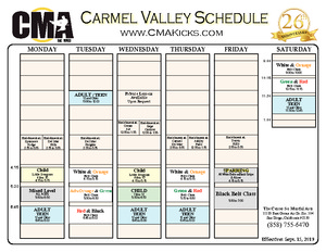 2019 Class Schedule for Carmel Valley Center for Martial Arts