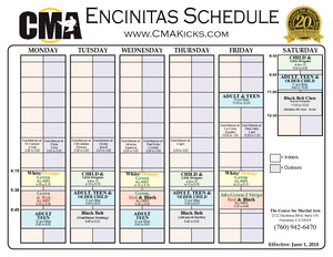 Encinitas Center for Martial Arts Class Schedule